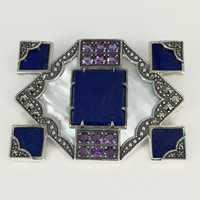 Art Deco brooch in silver with lapis lazuli and...