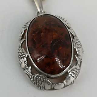 Magnificent pendant Fischlandschmuck  in 835 silver and amber, including chain