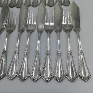 Antique silver fish cutlery for 12 people. Wilkens & Sons, Bremen