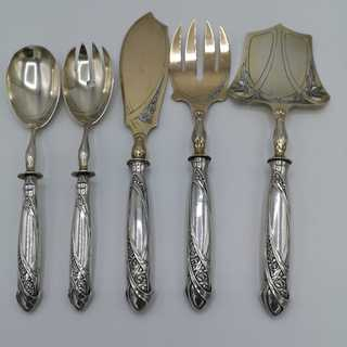 Complete presentation cutlery from the Art Nouveau in silver and gold