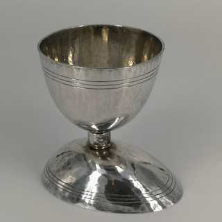Rare Art Deco double egg cup in silver for standing and lying eggs