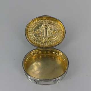 Antique solid silver pill box with relief decoration