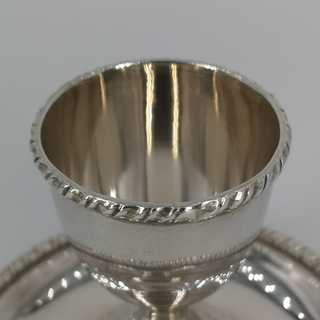 Beautiful silver egg cup with a fixed plate from Italy around 1940