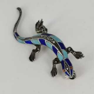 Magnificent Art Deco lizard brooch in silver with enamel and marcasites
