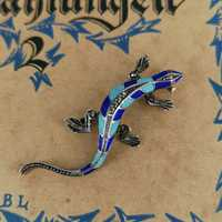 Magnificent Art Deco lizard brooch in silver with enamel...