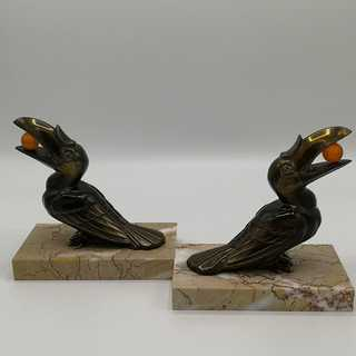 Hippolyte Moreau - Pair of bookends with pretty toucans
