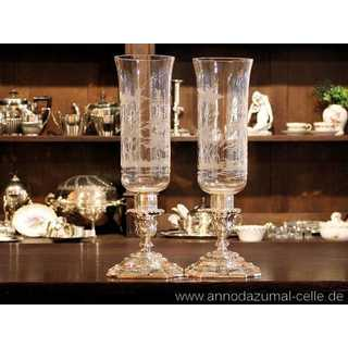 table lanterns hunting motifs silver and glass