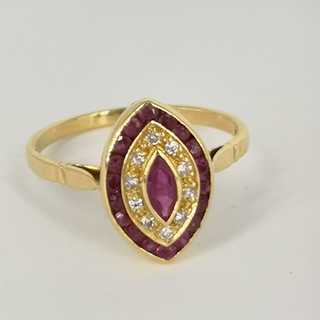 Marquise ring with a large navette ruby ??and diamonds