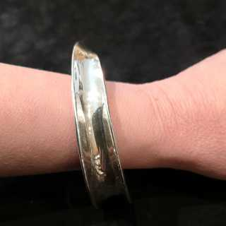 Modernist Mexican Sterling Silver Bangle Concave Twisted