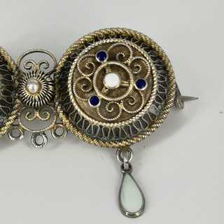 Art Nouveau brooch with guilloche enamel by Marius Hammer from Norway