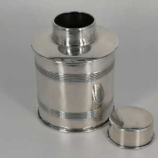 Cylindrical tea caddy in solid silver from Birmingham 1909
