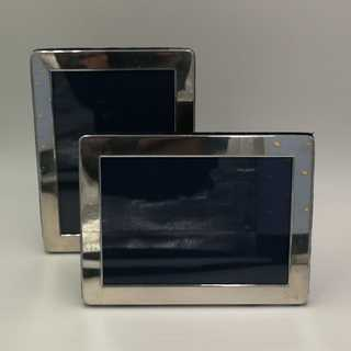 Pair of simple picture frames in sterling silver