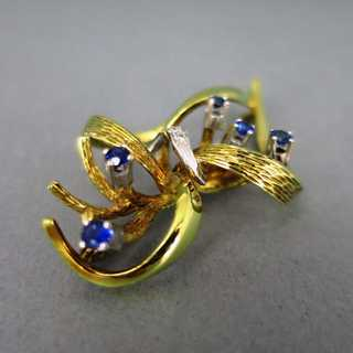 Beautiful modernist gold brooch with sapphire and diamonds vintage jewelry