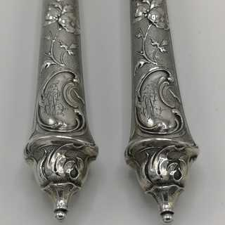 Magnificent carving set in silver from historicism around 1880