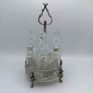 6-part spice cruet set in silver and crystal glass around 1955