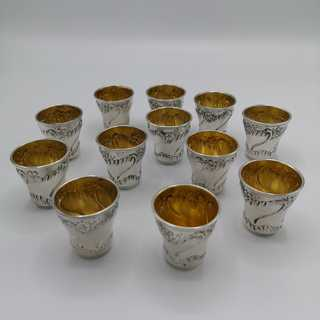 12 Schaps cups in solid silver in the original box from 1900
