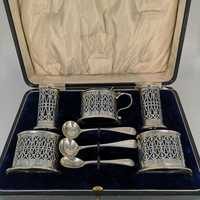 Antique spice set in sterling silver in original box,...