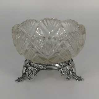 Antique saliere with crystal glass and mounting in silver
