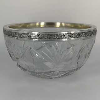 Antique crystal bowl with silver fittings around 1900