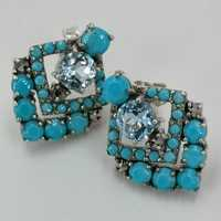 Stud earrings in silver in Art Deco with turquoise and...