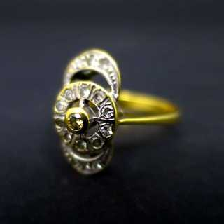 Art Deco Damenring mit Brillanten in 750er Gold